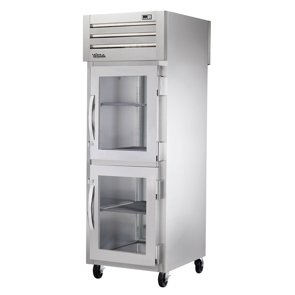 "True STA1RPT-2HG-1S-HC 27.5"" Single Section Pass-Thru Refrigerator, (2) Glass Door, 115v"