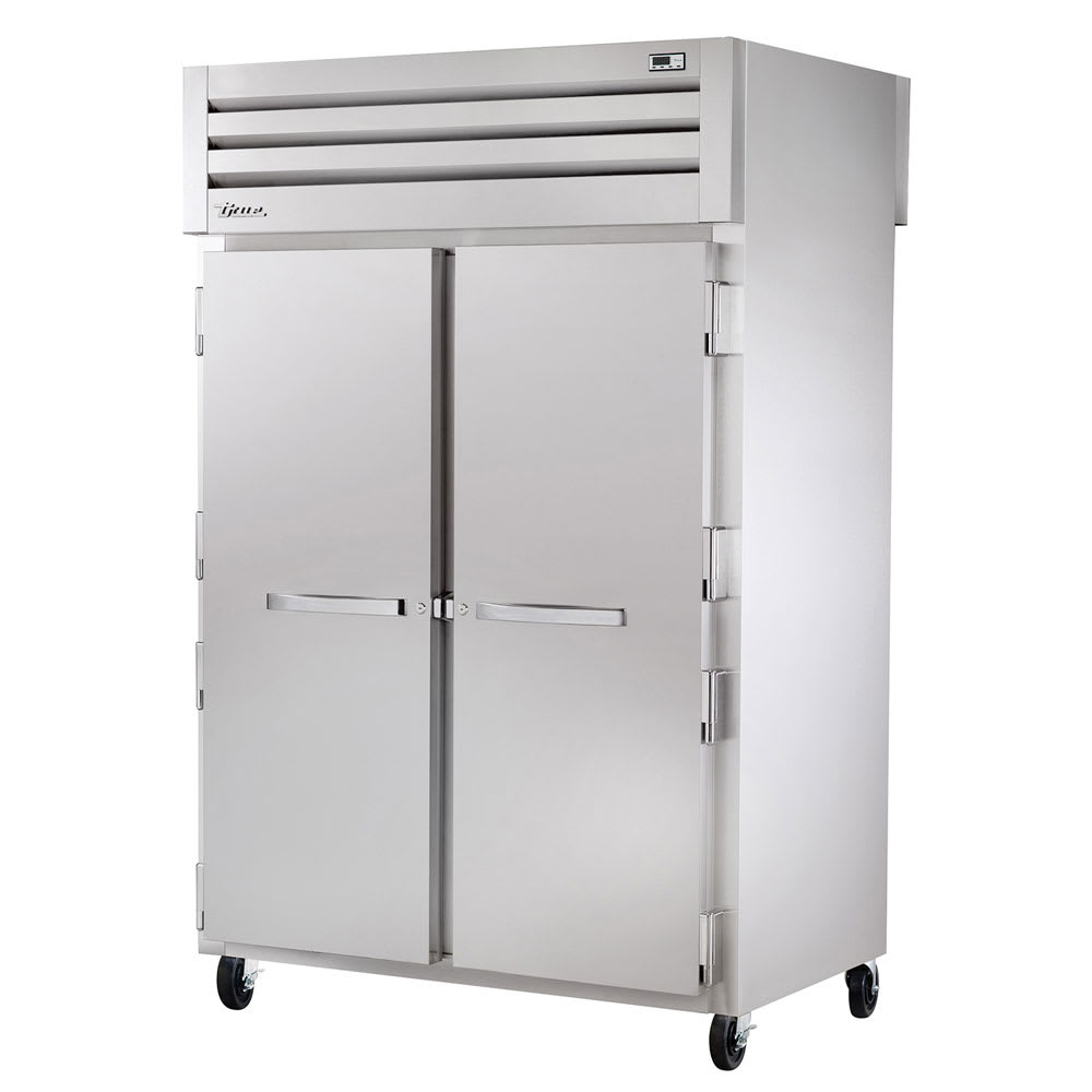 "True STA2DT-2S 53"" Two Section Commercial Refrigerator Freezer - Solid Doors, Top Compressor, 115v"
