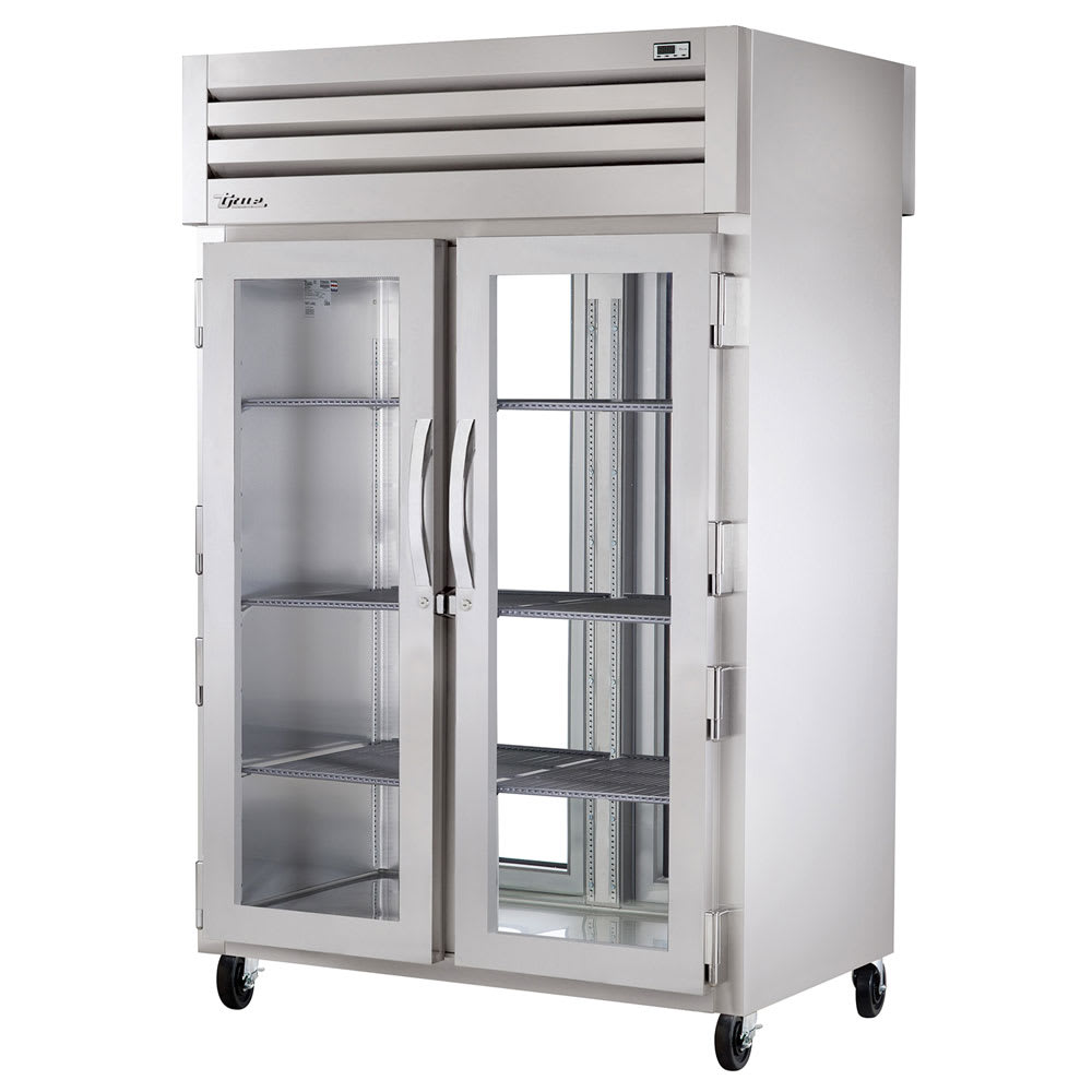 "True STA2RPT-2G-2G-HC 52.63"" Two Section Pass-Thru Refrigerator, (2) Glass Door, 115v"