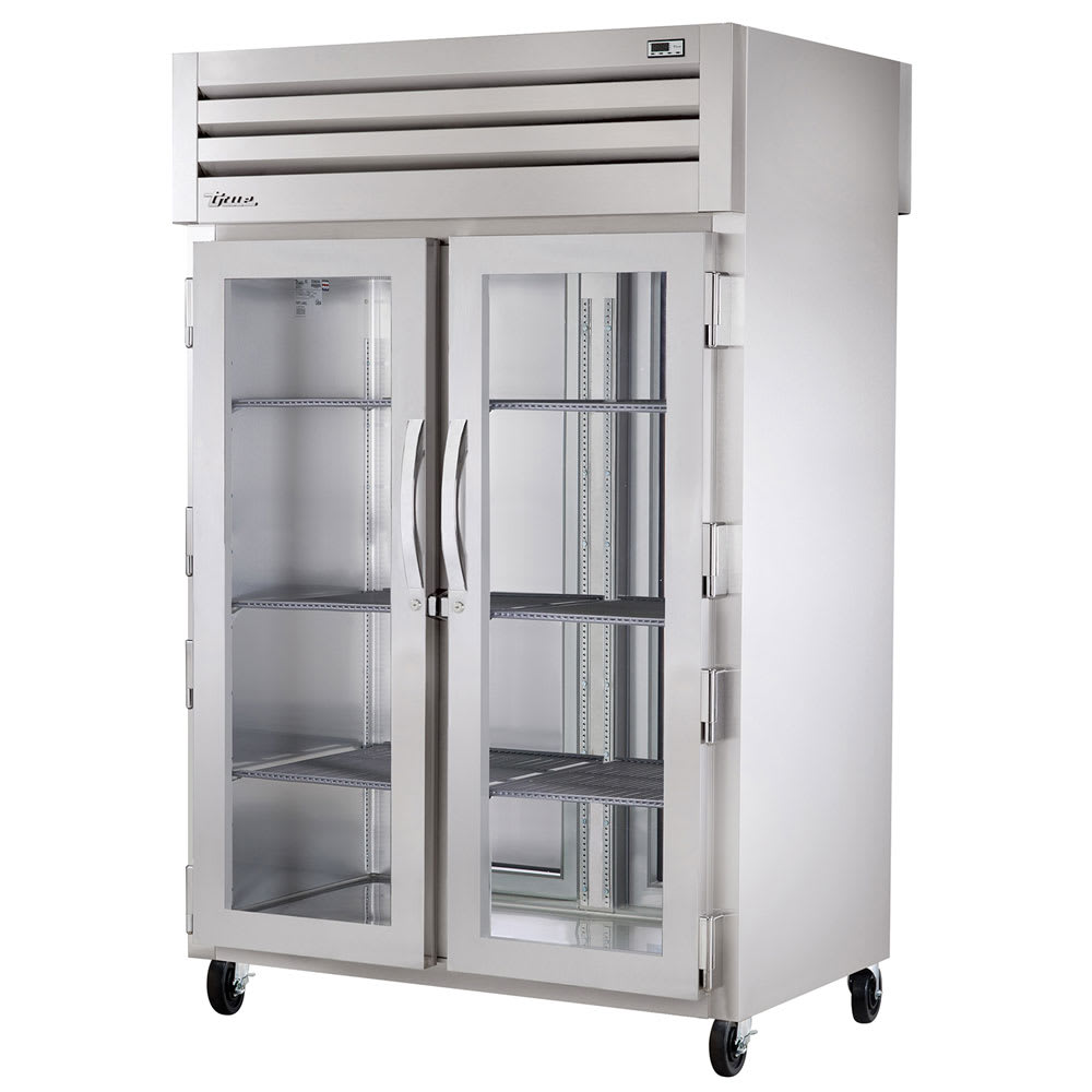 "True STA2RPT-2G-2S-HC 52.63"" Two Section Pass-Thru Refrigerator, (2) Glass Door, 115v"