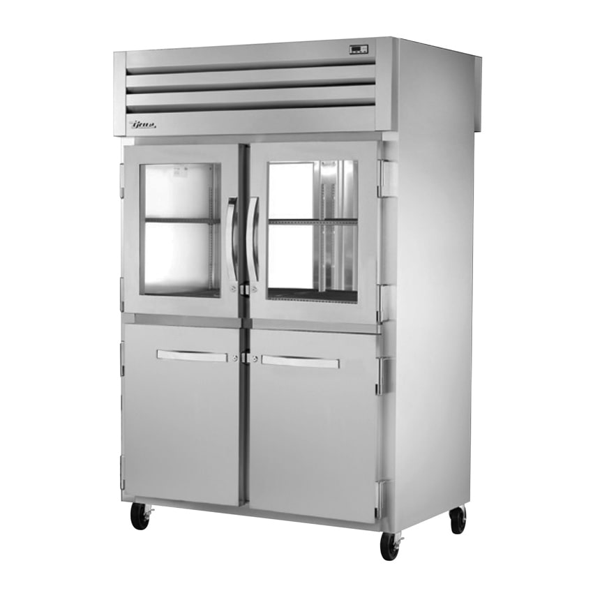 "True STA2RPT-2HG/2HS-2G-HC 52.63"" Two Section Pass-Thru Refrigerator, (2) Solid Door & (2) Glass Door, 115v"
