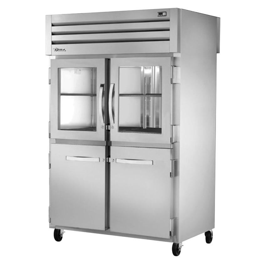"True STA2RPT-2HG/2HS-2S-HC 52.63"" Two Section Pass-Thru Refrigerator, (2) Solid Door & (2) Glass Door, 115v"