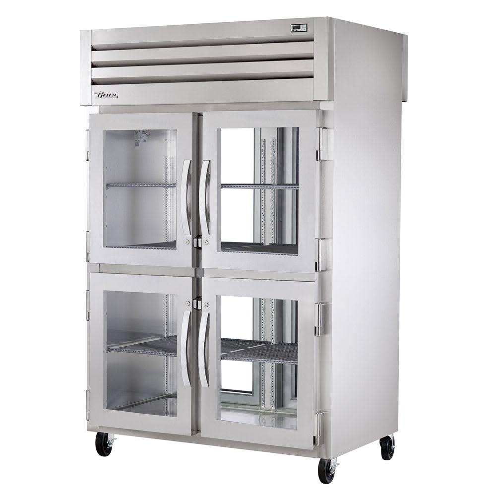 "True STA2RPT-4HG-2G-HC 52.63"" Two Section Pass-Thru Refrigerator, (4) Glass Door, 115v"