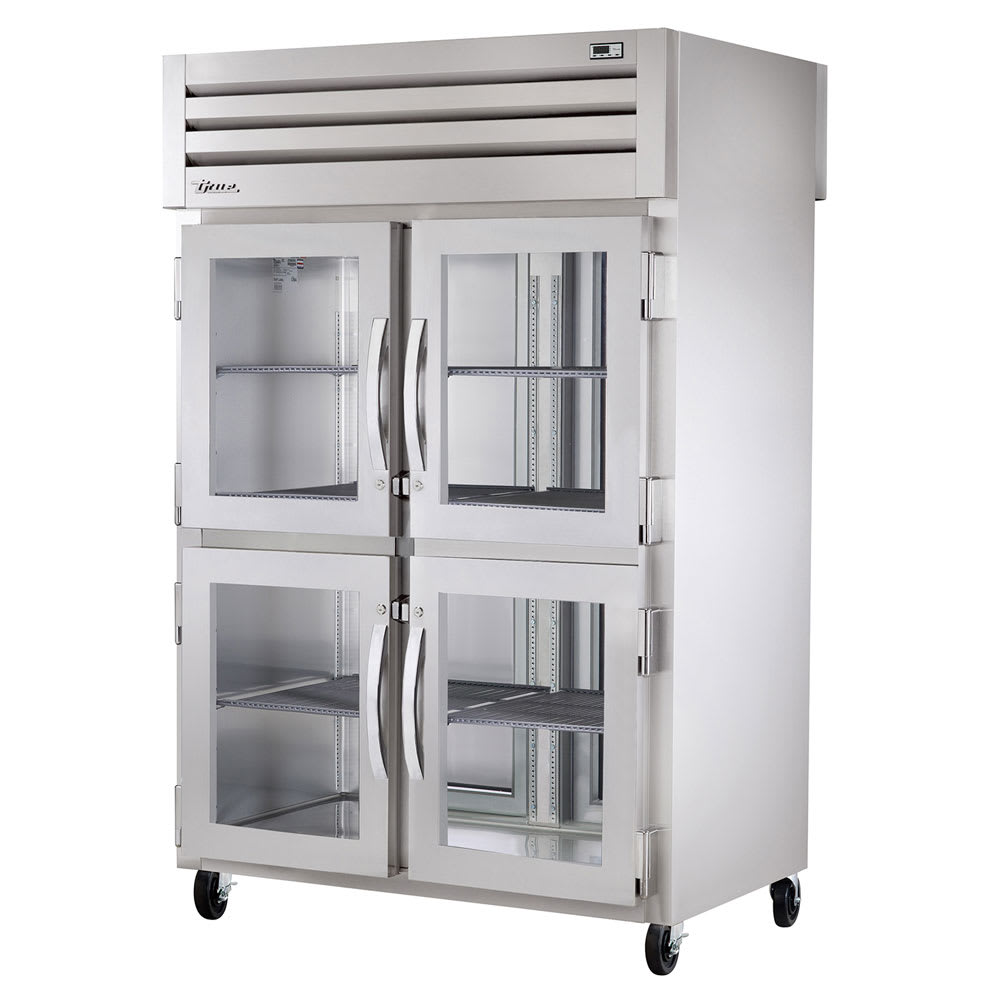 "True STA2RPT-4HG-2S-HC 52.6"" Two Section Reach-In Refrigerator, (4) Glass Doors, Pass-Thru, 115v"
