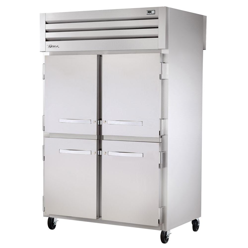 "True STA2RPT-4HS-2G-HC 52.6"" Two Section Pass Thru Refrigerator, (4) Left/Right Hinge Solid Doors, 115v"