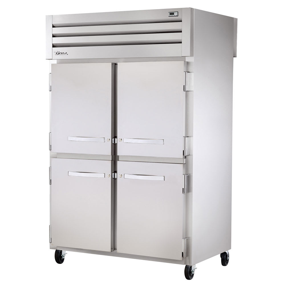 "True STA2RPT-4HS-2S-HC 52.63"" Two Section Pass-Thru Refrigerator, (4) Solid Door, 115v"