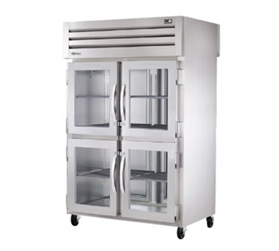 "True STA2RPTVLD-4HG-2S 52.6"" Two Section Reach-In Refrigerator, (4) Glass Doors, Pass-Thru, 115v"
