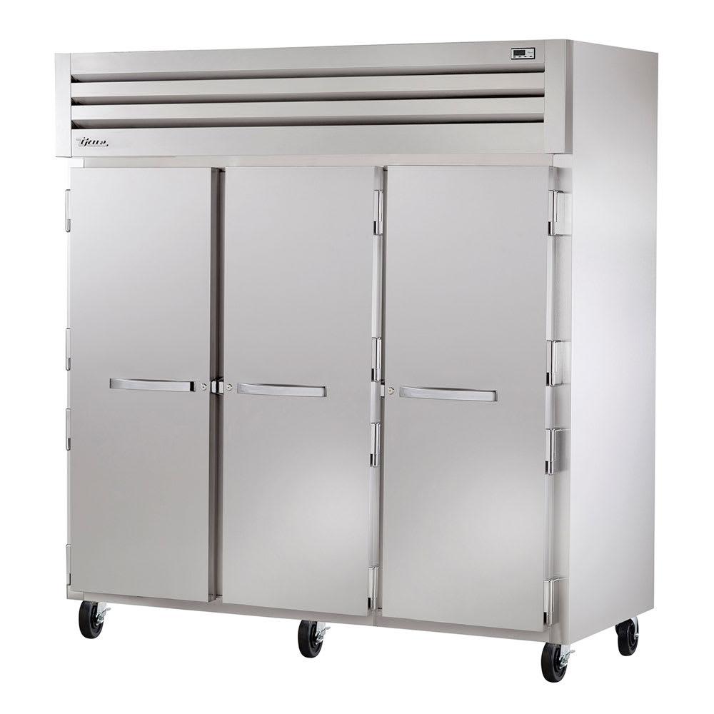"""True STA3R-3S 77.75"""" Three Section Reach-In Refrigerator, (3) Solid Door, 115v"""