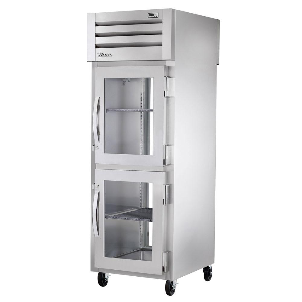 "True STG1RPT-2HG-1G-HC 27.5"" Single Section Pass-Thru Refrigerator, (2) Glass Door, 115v"
