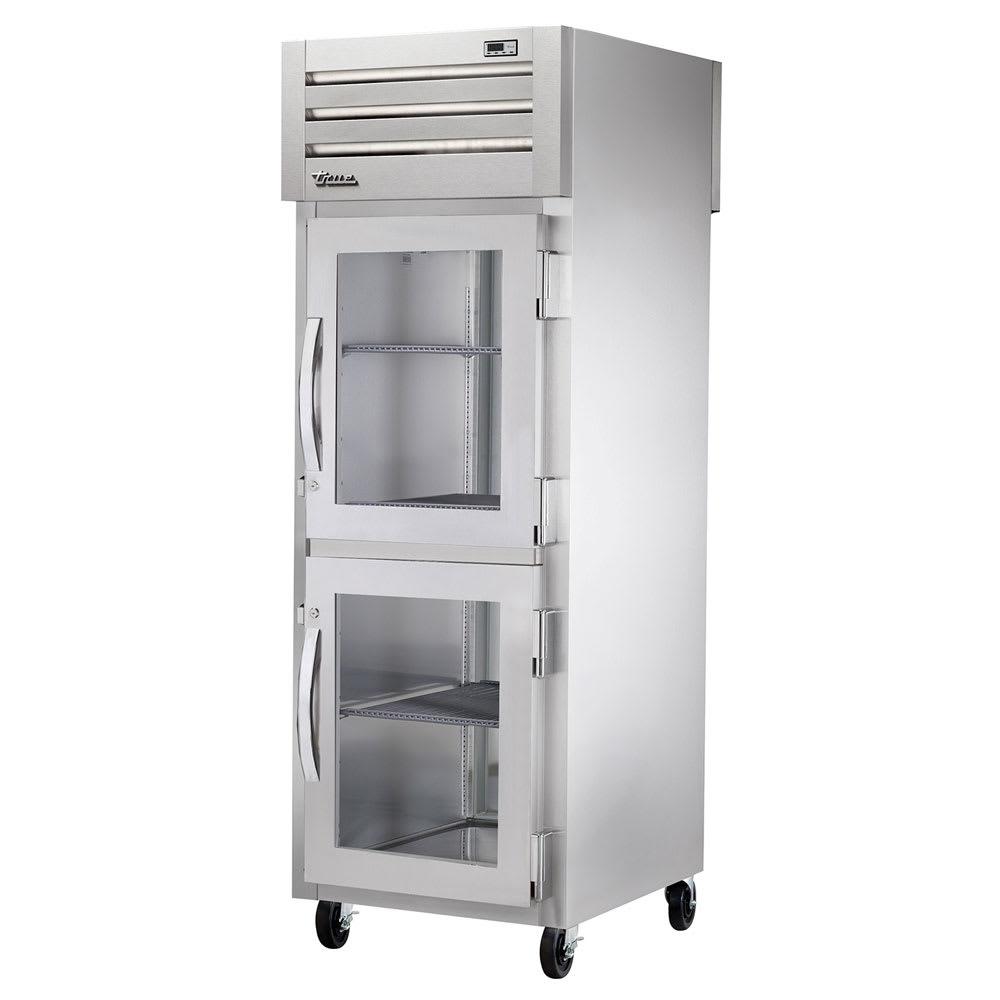 "True STG1RPT-2HG-1S-HC 27.5"" Single Section Pass-Thru Refrigerator, (2) Glass Door, 115v"