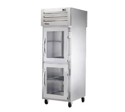 """True STG1RPTVLD-2HG-1S 27.5"""" Single Section Pass-Thru Refrigerator, (2) Glass Door, 115v"""