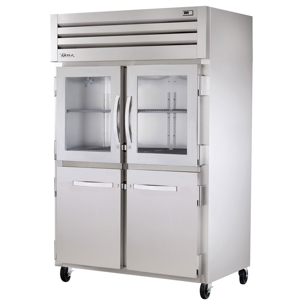 "True STG2R-2HG/2HS-HC 52.63"" Two Section Reach-In Refrigerator, (2) Solid Door, (2) Glass Door, 115v"