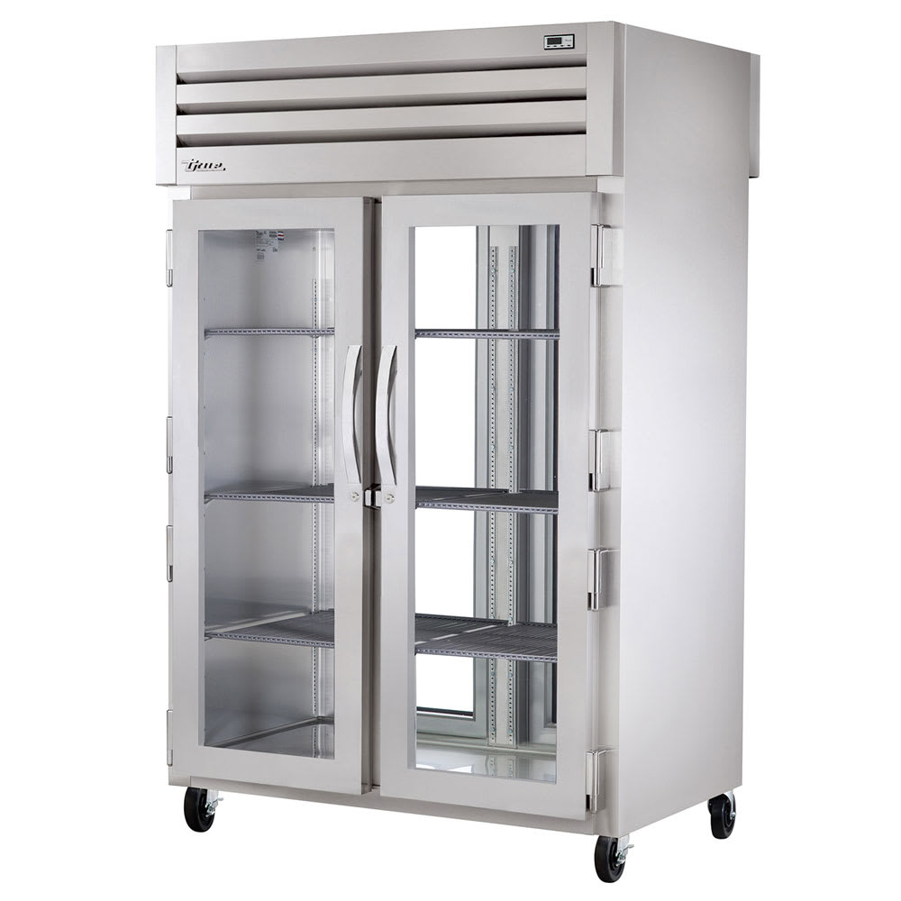 "True STG2RPT-2G-2G-HC 52.63"" Two Section Pass-Thru Refrigerator, (2) Glass Door, 115v"