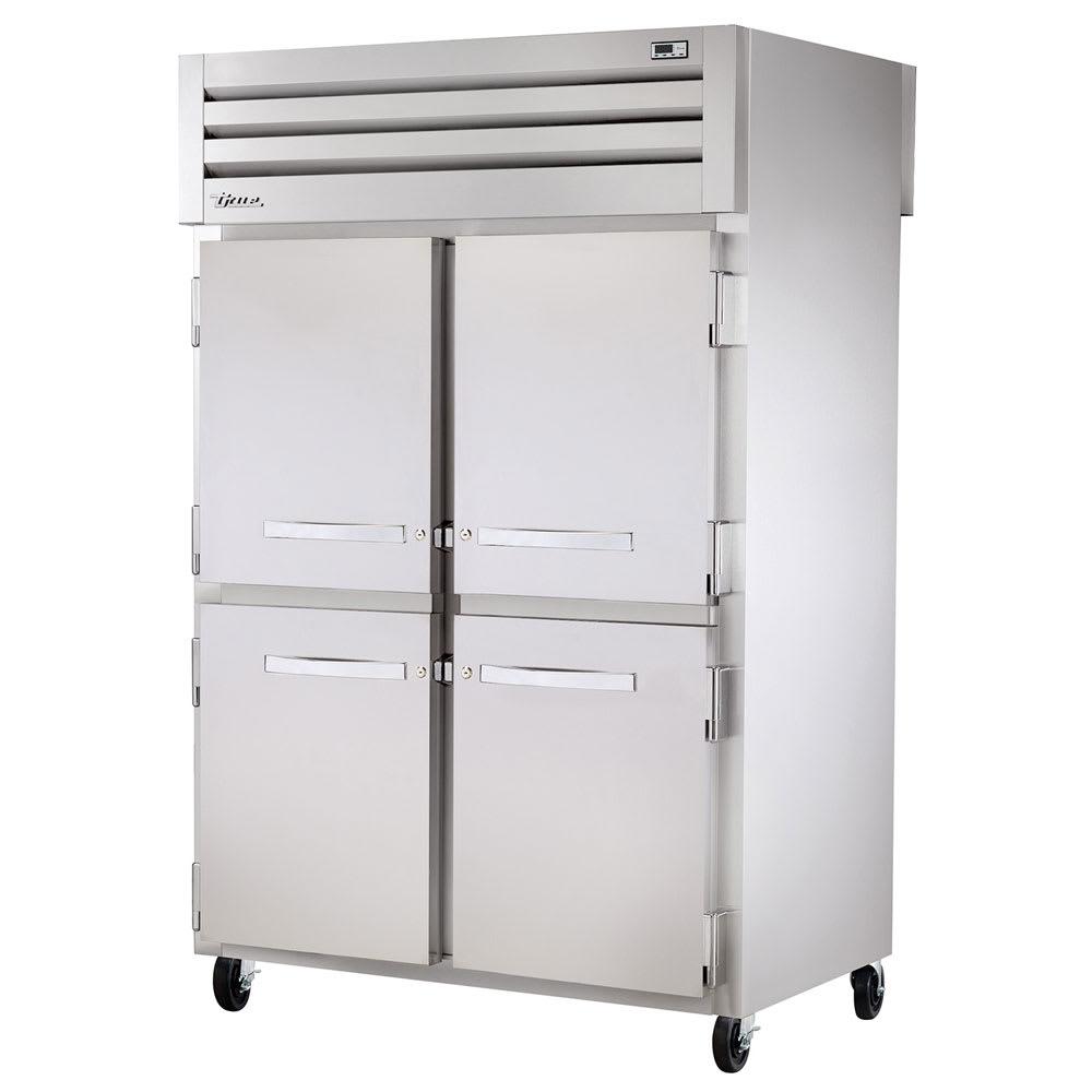 "True STG2RPT-4HS-2G-HC 52.63"" Two Section Pass-Thru Refrigerator, (4) Solid Door, 115v"