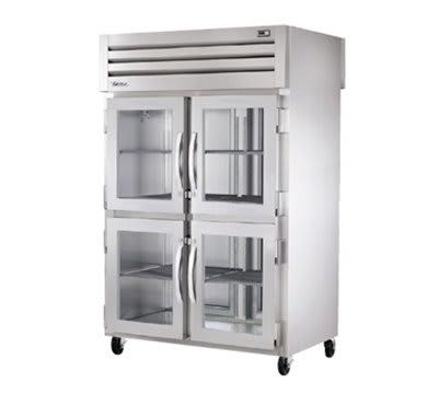 "True STG2RPTVLD-4HG-2S 52.63"" Two Section Pass-Thru Refrigerator, (4) Glass Door, 115v"
