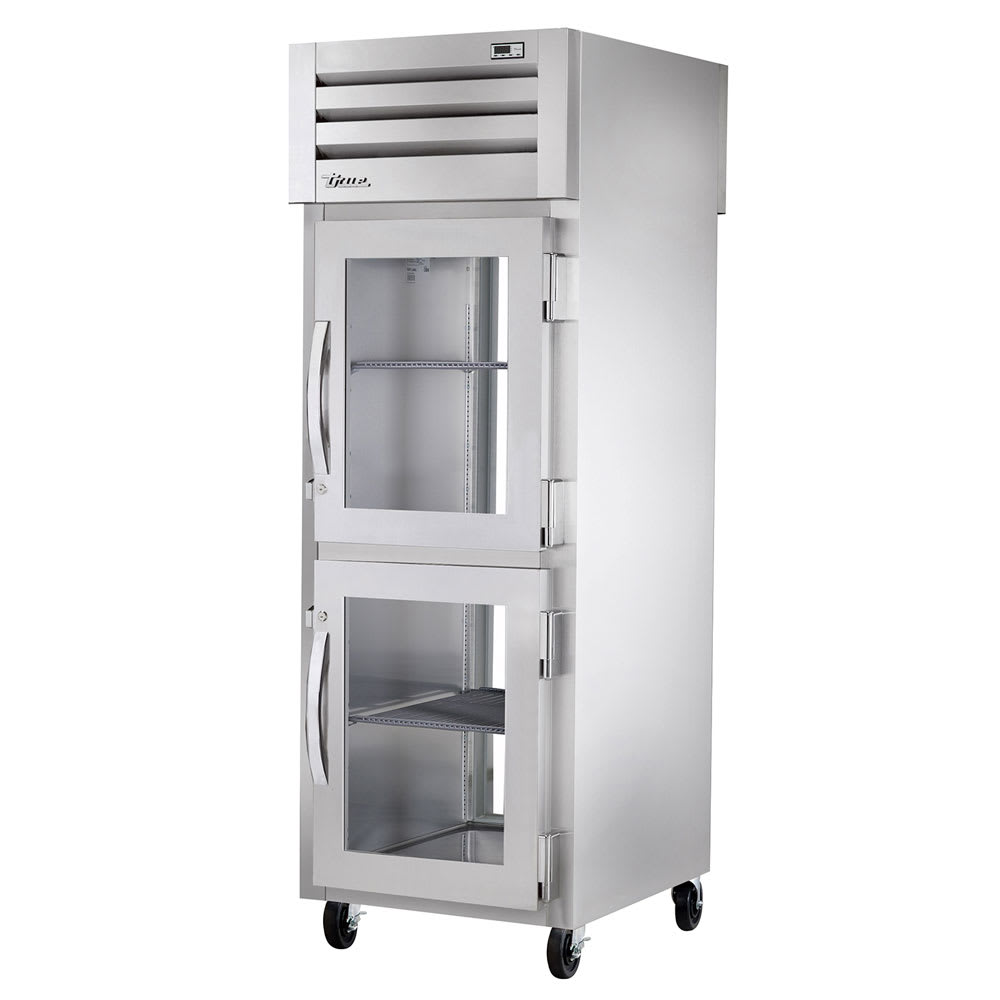 """True STR1R-2HG-HC 27.5"""" Single Section Reach-In Refrigerator, (2) Glass Door, 115v"""