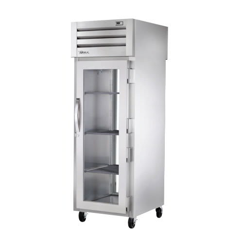 "True STR1RPT-1G-1G-HC 28"" Single Section Pass-Thru Refrigerator, (1) Glass Door Front & Back, 115v"
