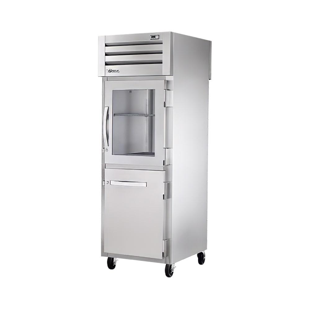 """True STR1RPT-1HG/1HS-1G-HC 27.5"""" Single Section Pass-Thru Refrigerator, (1) Solid Door, (1) Glass Door, 115v"""