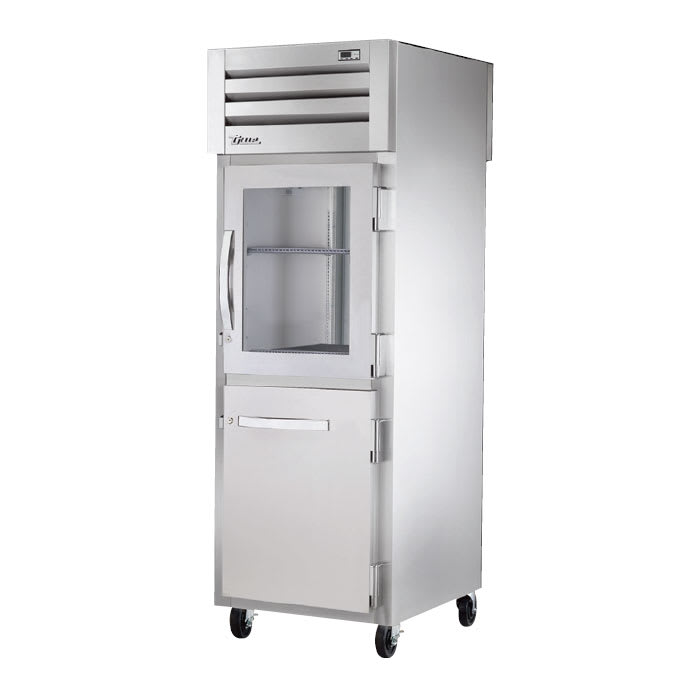 "True STR1RPT-1HG/1HS-1S-HC 27.5"" Single Section Pass-Thru Refrigerator, (1) Solid Door, (1) Glass Door, 115v"