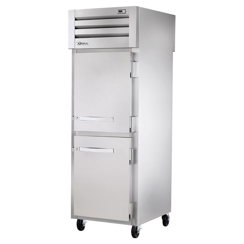"""True STR1RPT-2HS-1G-HC 27.5"""" Single Section Pass-Thru Refrigerator, (2) Solid Door, 115v"""