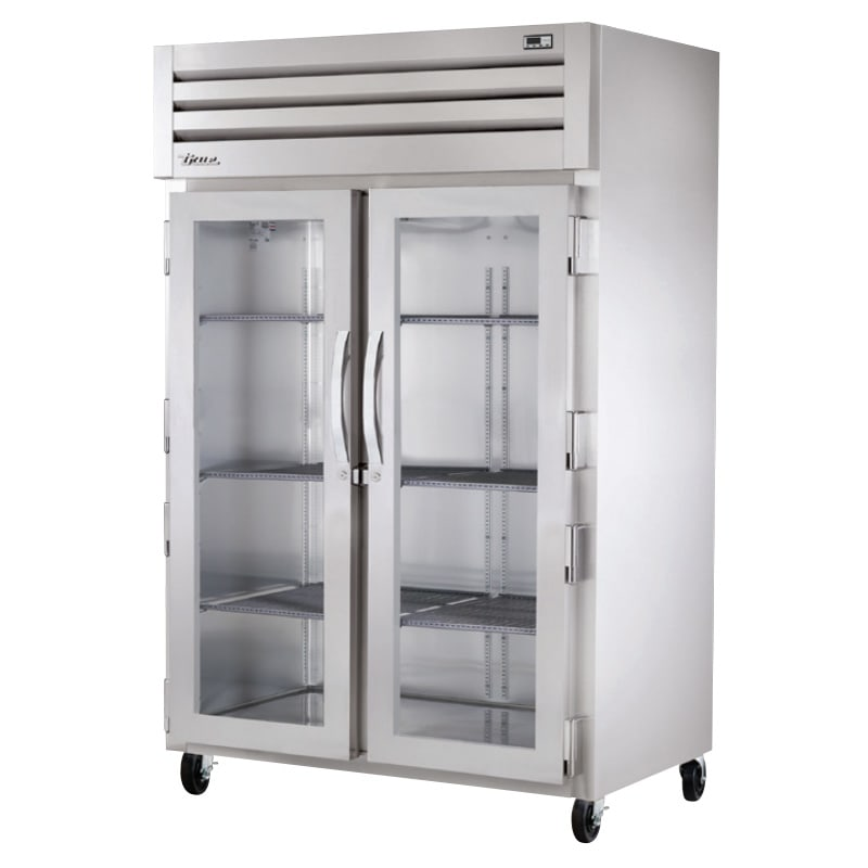 "True STR2R-2G-HC 52.63"" Two Section Reach-In Refrigerator, (2) Glass Door, 115v"