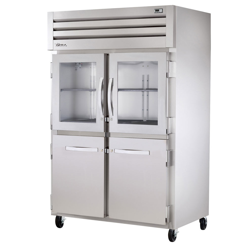 "True STR2R-2HG/2HS-HC 52.63"" Two Section Reach-In Refrigerator, (2) Solid Door, (2) Glass Door, 115v"