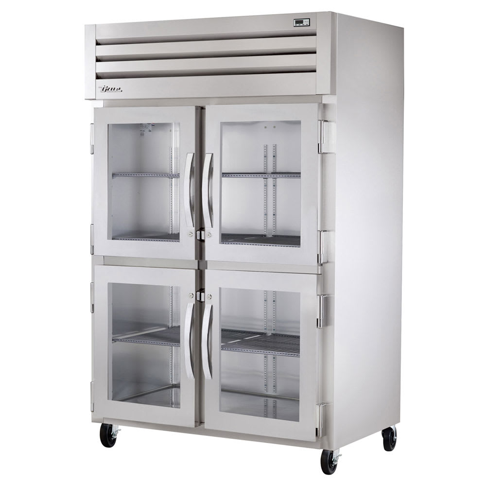 "True STR2R-4HG-HC 52.63"" Two Section Reach-In Refrigerator, (4) Glass Door, 115v"