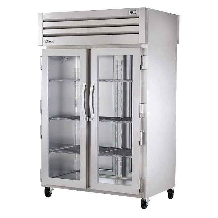 "True STR2RPT-2G-2S-HC 53"" Two Section Pass-Through Refrigerator, (2) Glass Door, 115v"
