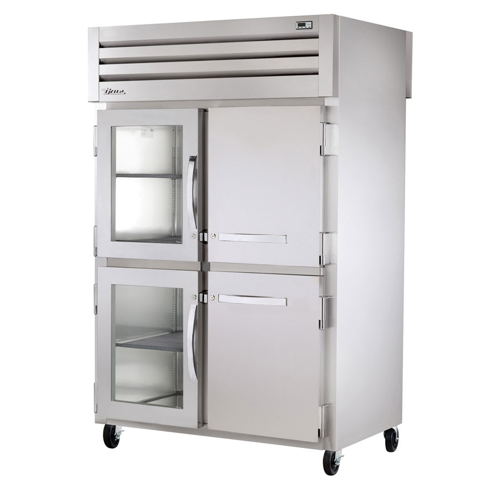 "True STR2RPT-2HG/2HS-2S-HC 52.63"" Two Section Pass-Thru Refrigerator, (2) Solid Door & (2) Glass Door, 115v"