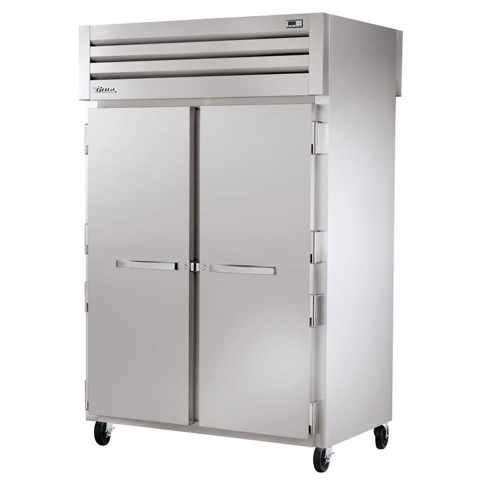 """True STR2RPT-2S-2G-HC 52.63"""" Two Section Pass-Thru Refrigerator, (2) Solid Door, 115v"""