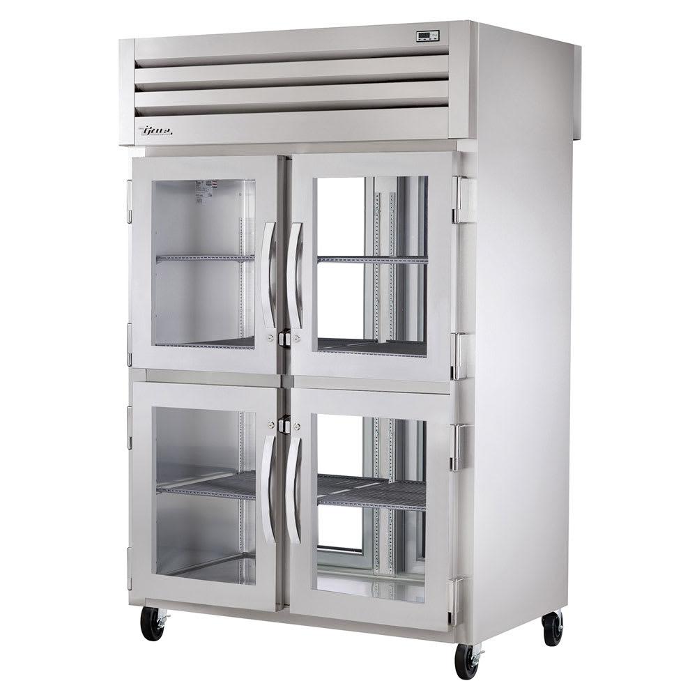"True STR2RPT-4HG-2G-HC 52.63"" Two Section Pass-Thru Refrigerator, (4) Glass Door, 115v"