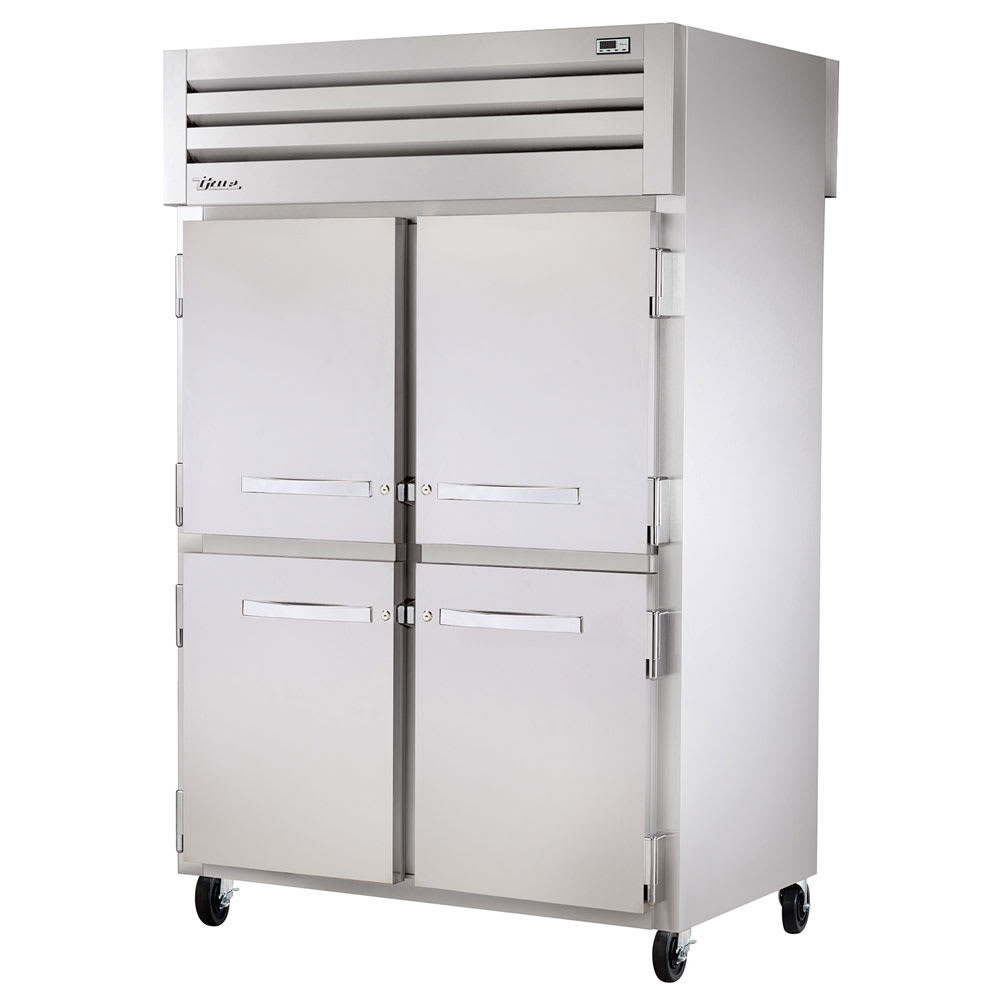 "True STR2RPT-4HS-2G-HC 52.63"" Two Section Pass-Thru Refrigerator, (4) Solid Door, 115v"