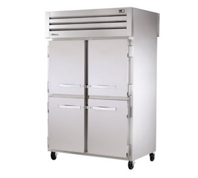 """True STR2RPT-4HS-4HS 52.63"""" Two Section Pass-Thru Refrigerator, (4) Solid Door, 115v"""