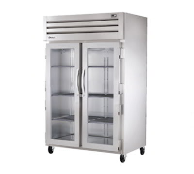 "True STR2RVLD-2G 52.63"" Two Section Reach-In Refrigerator, (2) Glass Door, 115v"