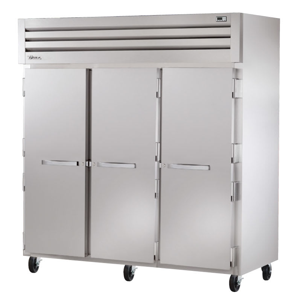"True STR3F-3S 77.75"" Three Section Reach-In Freezer, (3) Solid Door, 208 230v/1ph"