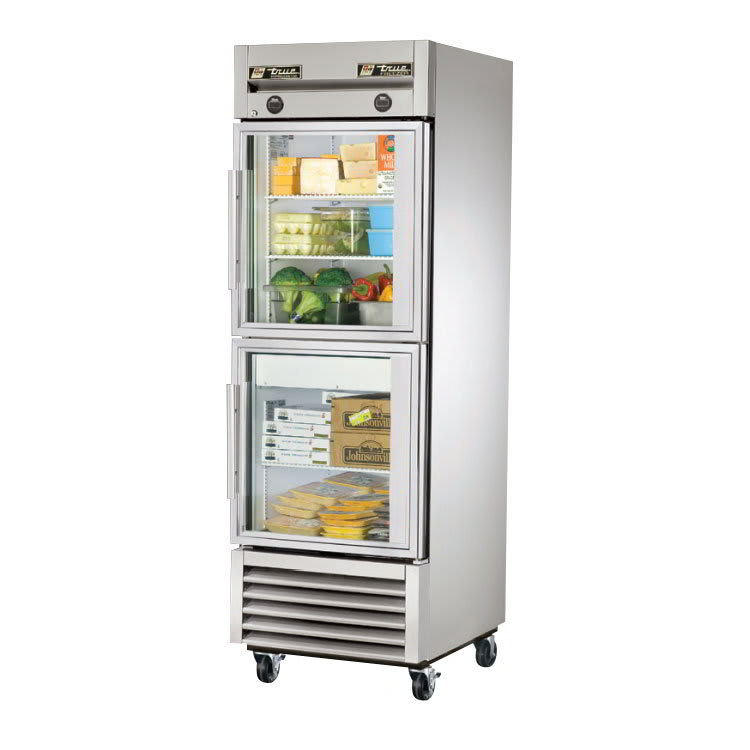 "True T-23DT-G 27"" One Section Commercial Refrigerator Freezer - Glass Doors, Bottom Compressor, 115v"