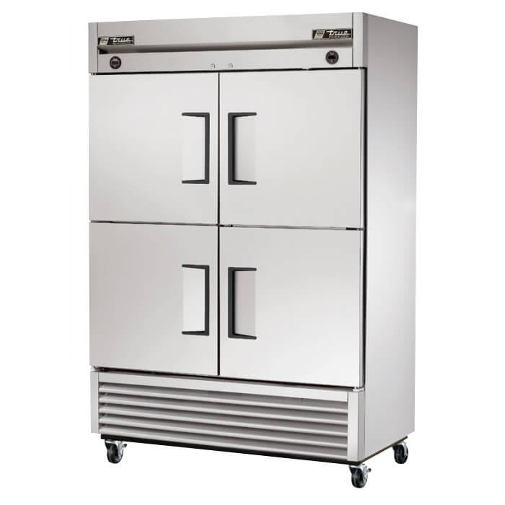 "True T-49DT-4 55"" Two Section Commercial Refrigerator Freezer - Solid Doors, Bottom Compressor, 115/208 230v"