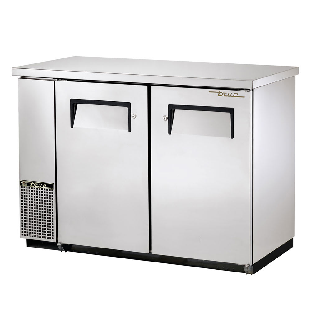 "True TBB-24-48FR-S-HC 48"" (2) Section Bar Refrigerator - Swinging Solid Doors, 115v"