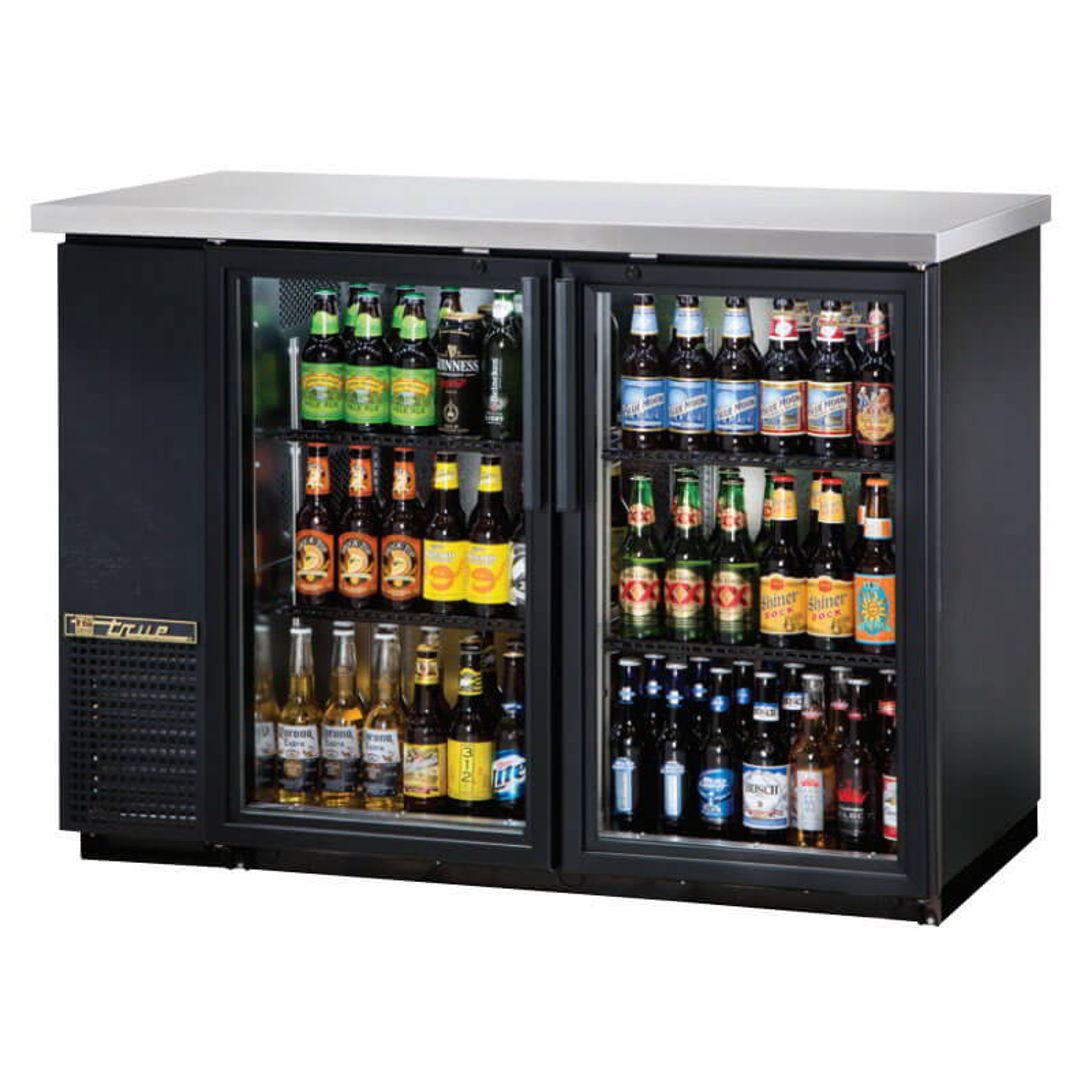"True TBB-24-48G-HC-LD 49"" (2) Section Bar Refrigerator - Swinging Glass Doors, 115v"