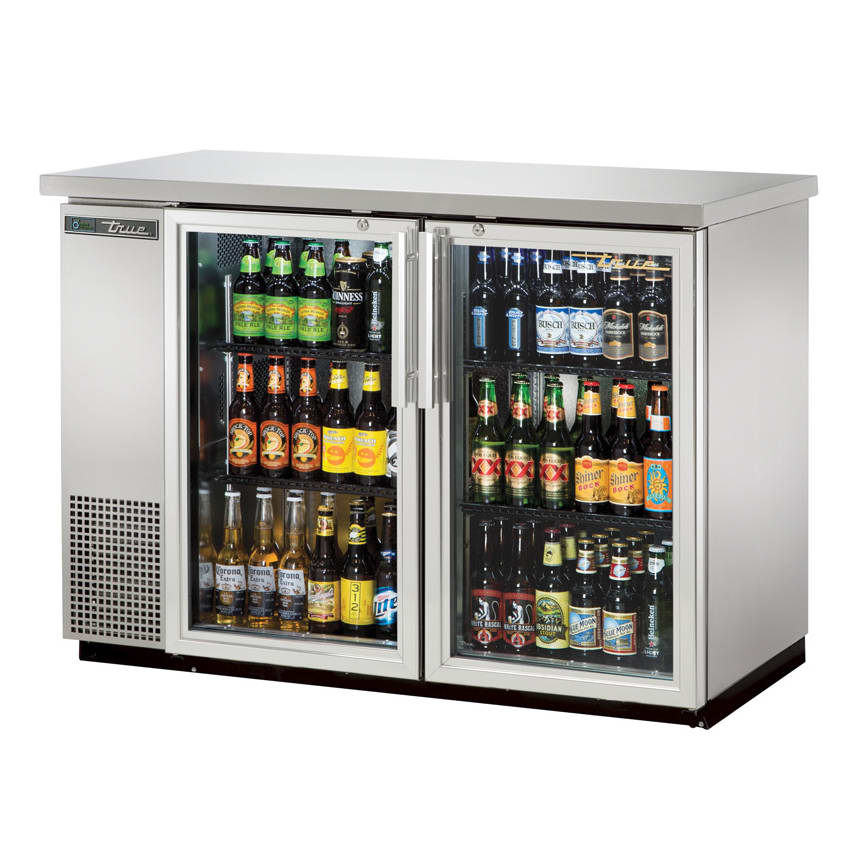"True TBB-24-48G-S-HC-LD 48"" (2) Section Bar Refrigerator - Swinging Glass Doors, 115v"