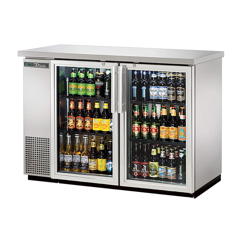 "True TBB-24-48G-S-HC-LD 49"" (2) Section Bar Refrigerator - Swinging Glass Doors, 115v"