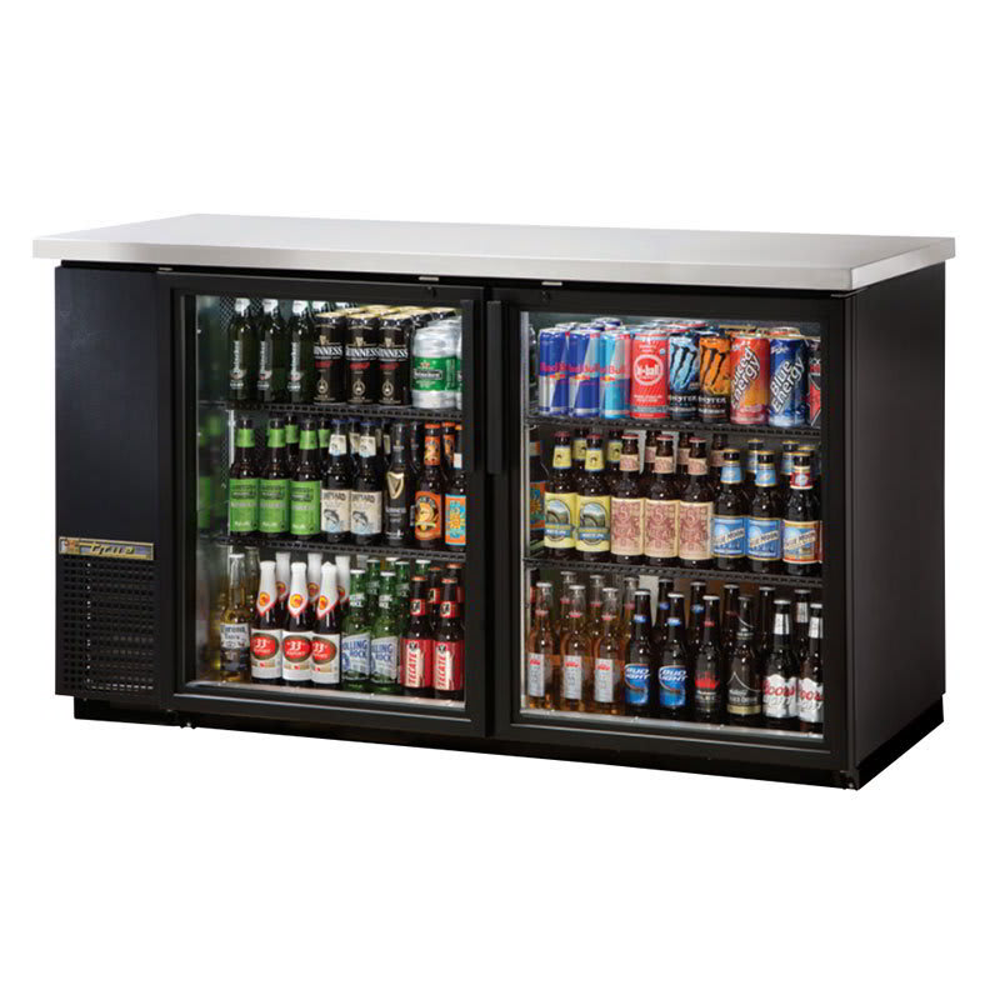 "True TBB-24-60G-HC-LD 61"" (2) Section Bar Refrigerator - Swinging Glass Doors, 115v"