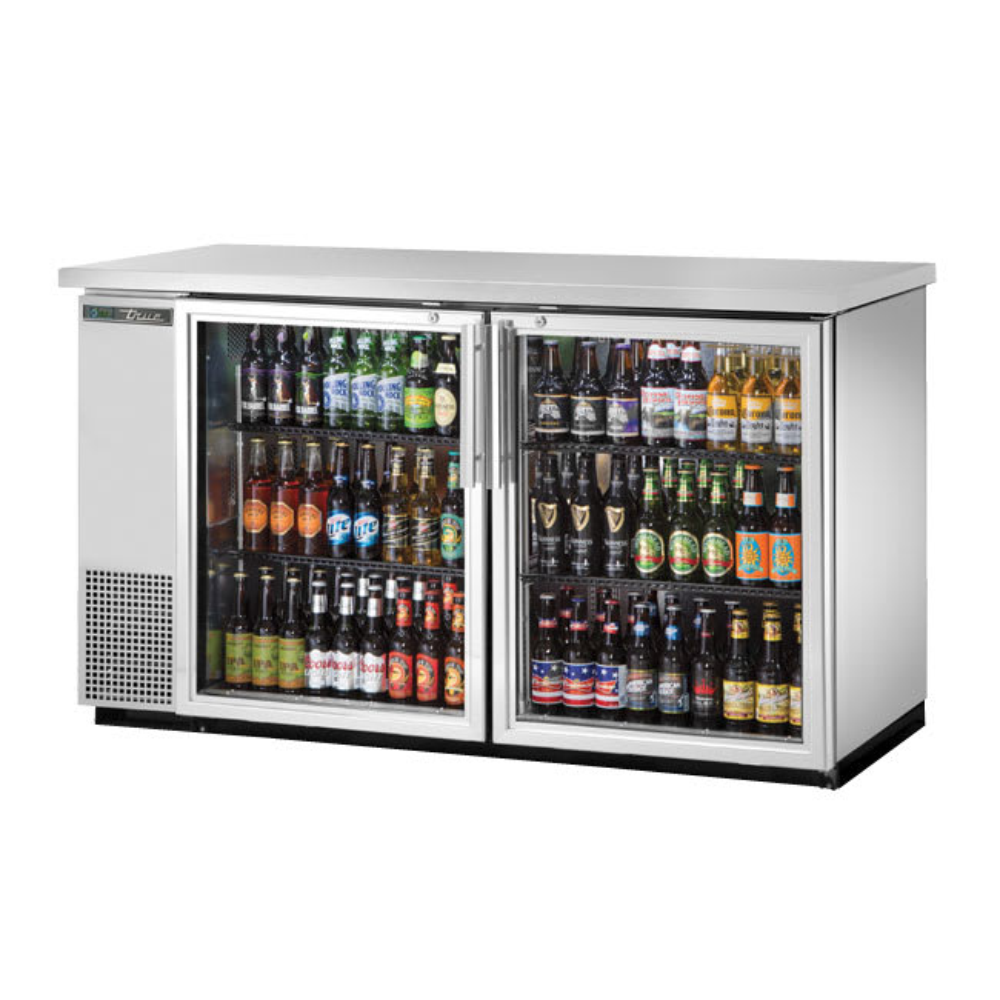 "True TBB-24-60G-S-HC-LD 61"" (2) Section Bar Refrigerator - Swinging Glass Doors, 115v"