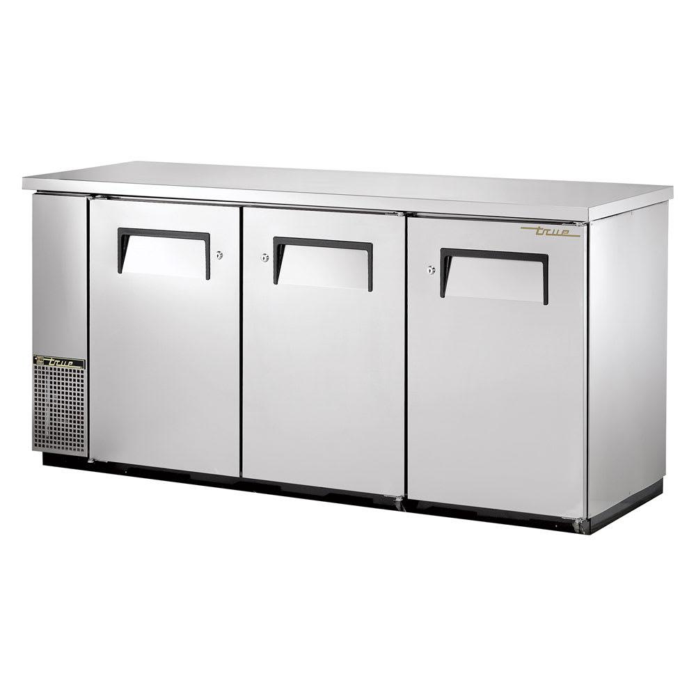 """True TBB-24-72FR-S-HC 72"""" (3) Section Bar Refrigerator - Swinging Solid Doors, 115v"""