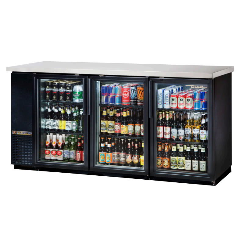 "True TBB-24-72G-HC-LD 73"" (3) Section Bar Refrigerator - Swinging Glass Doors, 115v"