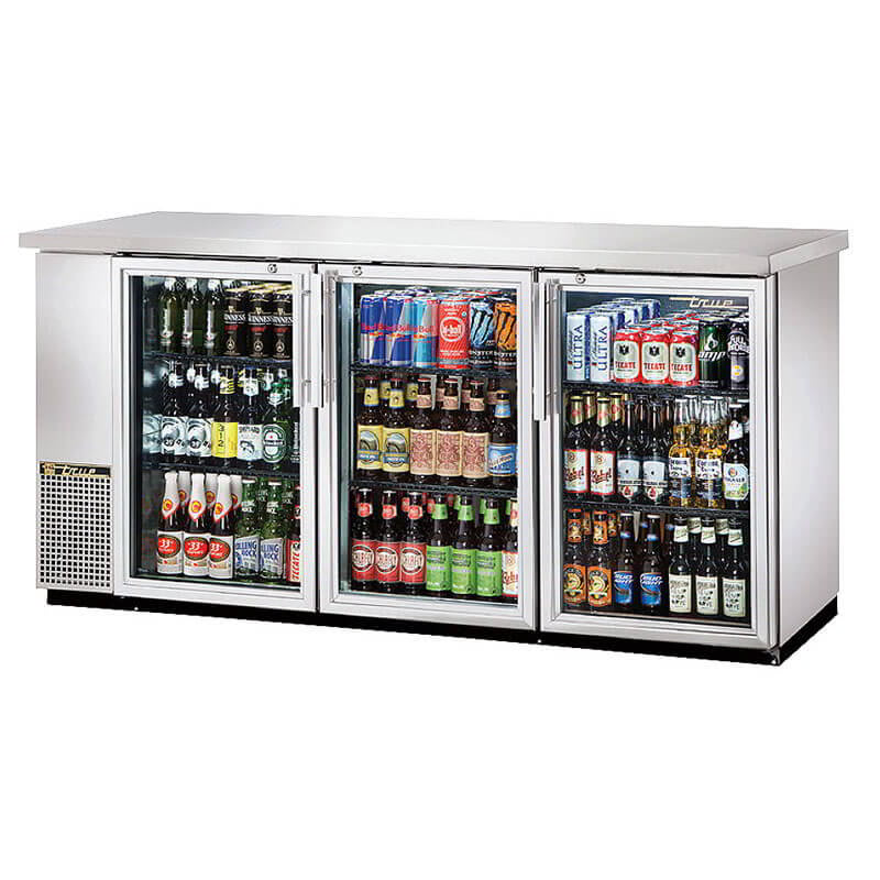 "True TBB-24-72G-S-HC-LD 72"" (3) Section Bar Refrigerator - Swinging Glass Doors, 115v"