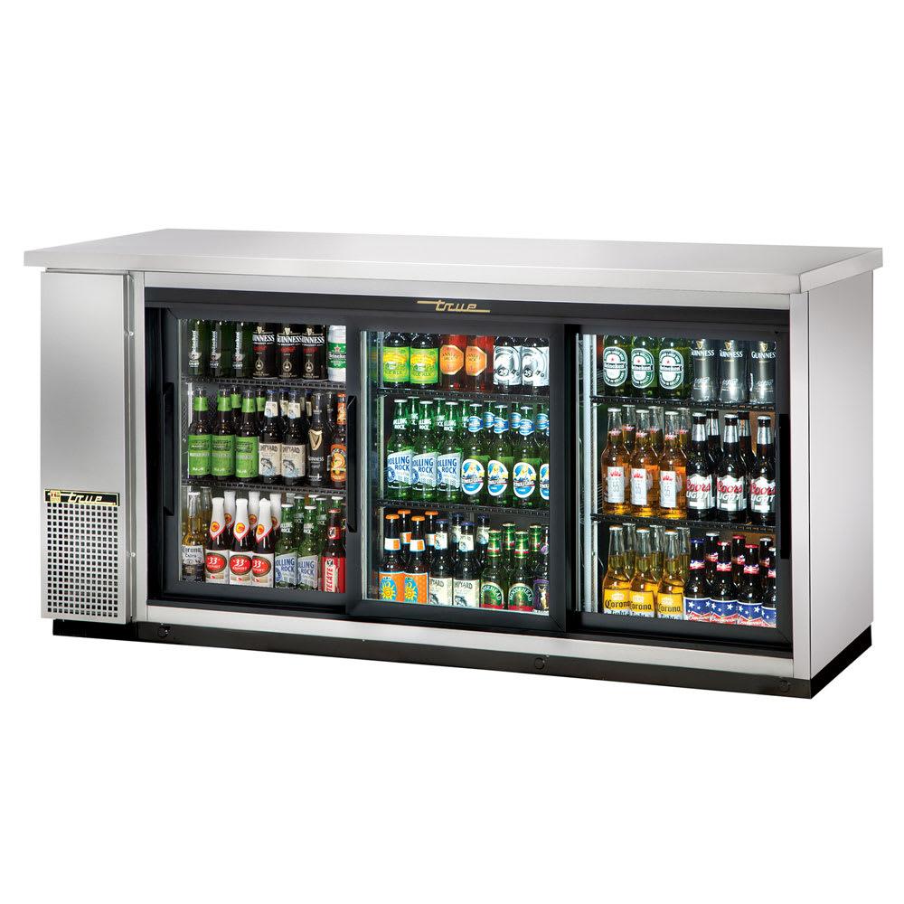 "True TBB-24-72G-SD-S-HC-LD 72"" (3) Section Bar Refrigerator - Sliding Glass Doors, 115v"