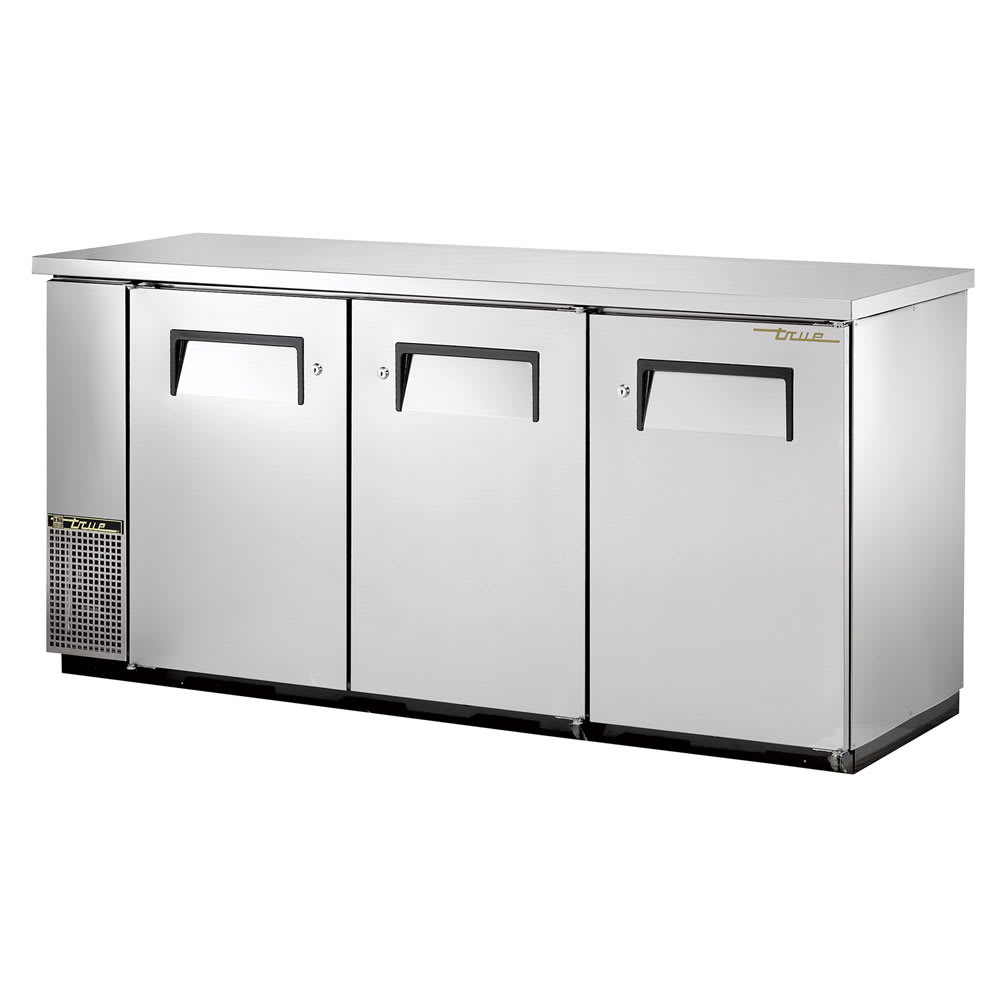 "True TBB-24-72-S-HC 72"" (3) Section Bar Refrigerator - Swinging Solid Doors, 115v"