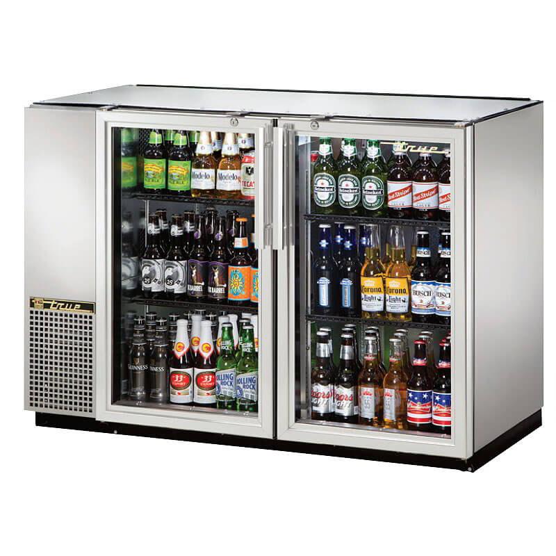 "True TBB-24GAL-48G-S-HC-LD 48"" (2) Section Bar Refrigerator - Swinging Glass Doors, 115v"