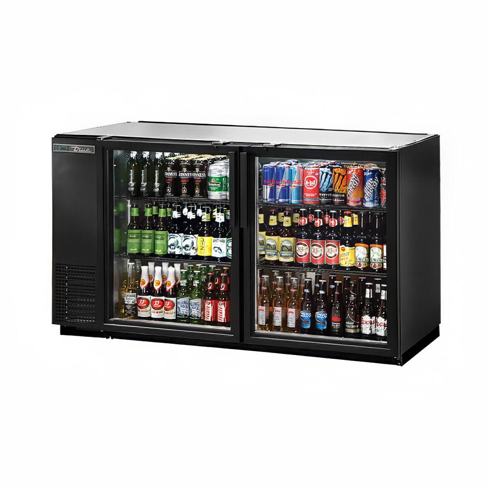 "True TBB-24GAL-60G-HC-LD 60"" (2) Section Bar Refrigerator - Swinging Glass Doors, 115v"